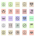 peace set black icon on color sticker vector image vector image