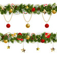 pine christmas border with garland vector image vector image