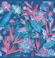 pink and blue tropical pattern vector image vector image