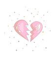 pink simple broken heart icon fun cartoon broken vector image vector image