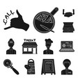 pizza and pizzeria black icons in set collection vector image