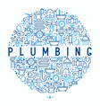 plumbing concept in circle with thin line icons vector image