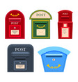 post mailbox colourful collection on white vector image vector image