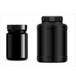 protein jar black plastic bottle supplement jar vector image vector image