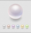 realistic pearl icon set variegated colors vector image vector image