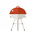 red barbecue grill icon vector image