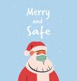 santa claus wearing mask to prevent coronavirus vector image