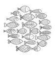 school of fish a group of stylized fish swimming vector image