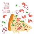 seafood pizza slice with ingredients isolated on vector image vector image