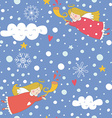 Seamless pattern with Christmas angels vector image vector image