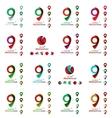 Set of map tag logo icons vector image vector image