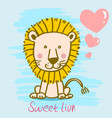 sweet cartoon lion hand drawn vector image