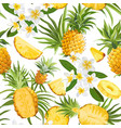 tropical flowers and pineapple seamless pattern vector image vector image