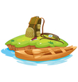 vaious objects for camping and a canoe vector image vector image