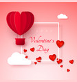 valentines day greeting card with paper cut red vector image vector image
