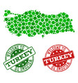 welcome collage of map of turkey and scratched vector image