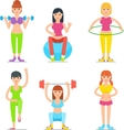 Women Fitness Cartoon Icons Collection vector image vector image