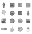 Yes no icons set monochrome style vector image vector image