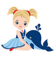 cute little girl with whale vector image