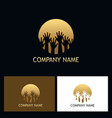 hands gold round logo vector image