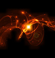 abstract design - bright wave shape on black vector image