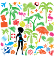 Set of summer travel and vacations symbols vector image