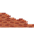 3d brick wall broken isolated on white background vector image