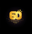 60 number icon design with golden star and glitter vector image vector image