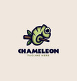 a chameleon on a tree trunk logo template vector image
