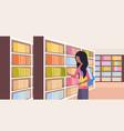 african girl student choosing books schoolgirl vector image