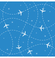 Airplane routes and stars seamless vector image