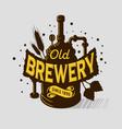 beer logo emblem print design brewery equipmen vector image vector image