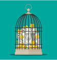 bird cage full gold coins and banknotes vector image