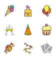 birthday celebration icons set cartoon style vector image