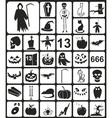 Black Halloween Icons vector image