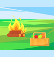 bonfire with basket and apples fruits and veggies vector image
