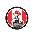 canadian female organic farmer canada flag icon vector image vector image