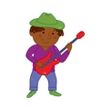Cartoon musician kid for vector image vector image