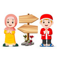 children are standing near wooden signpost vector image vector image