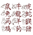 Chinese zodiac signs with hieroglyphs vector image
