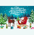 christmas sleigh with santa elves and xmas gifts vector image vector image