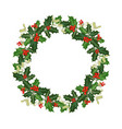 christmas wreath with holly vector image vector image