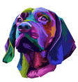 colorful dog head on pop art style vector image vector image