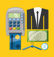 credit card payment suit and cash shopping concept vector image vector image