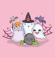 cute ghosts halloween cartoons vector image vector image