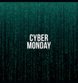 cyber monday poster white text on green computer vector image