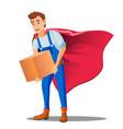 delivery service man in superhero uniform with vector image