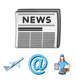 email symbol courier with parcel postal airplane vector image vector image