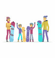 family goes snowboarding - cartoon people vector image