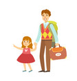 father with her daughter going to travel colorful vector image vector image